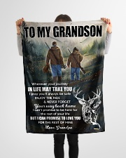 """Wherever Your Journey In Life Deer To Grandson Small Fleece Blanket - 30"""" x 40"""" aos-coral-fleece-blanket-30x40-lifestyle-front-14"""