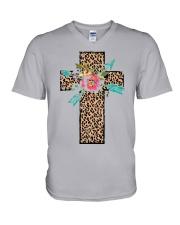 CROSS FLOWER V-Neck T-Shirt thumbnail