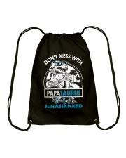 DON'T MESS WITH PAPASAURUS Drawstring Bag thumbnail