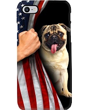 Pug behind American flag Gift for you Phone Case i-phone-8-case