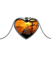 Cat and jesus necklace Metallic Heart Necklace front