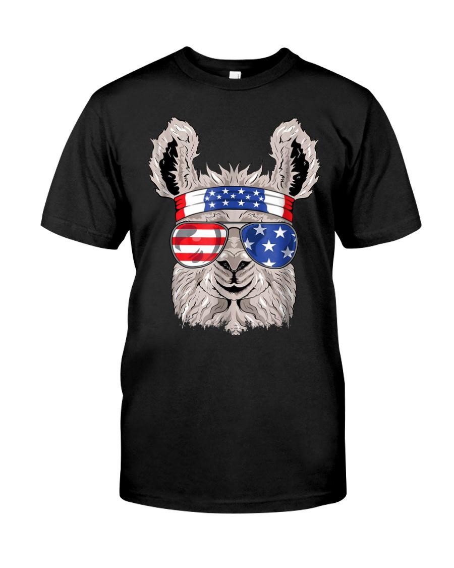 USA Patriotic Llama July 4th Alpaca Premium Fit Mens Tee
