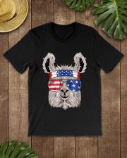 USA Patriotic Llama July 4th Alpaca Premium Fit Mens Tee lifestyle-mens-crewneck-front-18
