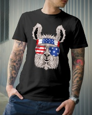 USA Patriotic Llama July 4th Alpaca Premium Fit Mens Tee lifestyle-mens-crewneck-front-6