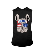 USA Patriotic Llama July 4th Alpaca Sleeveless Tee thumbnail