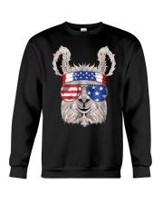 USA Patriotic Llama July 4th Alpaca Crewneck Sweatshirt thumbnail