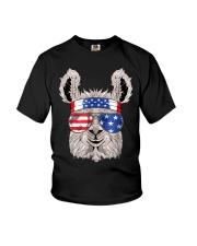 USA Patriotic Llama July 4th Alpaca Youth T-Shirt thumbnail