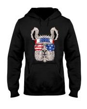 USA Patriotic Llama July 4th Alpaca Hooded Sweatshirt thumbnail