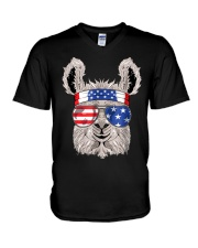 USA Patriotic Llama July 4th Alpaca V-Neck T-Shirt thumbnail