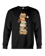 Kittens Cats Tea And Books Crewneck Sweatshirt thumbnail