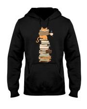 Kittens Cats Tea And Books Hooded Sweatshirt thumbnail