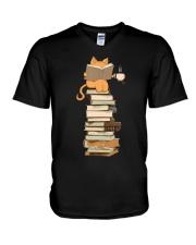 Kittens Cats Tea And Books V-Neck T-Shirt thumbnail