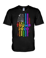 LGBT Gay Pride Rainbow USA Flag Election 2020 V-Neck T-Shirt thumbnail