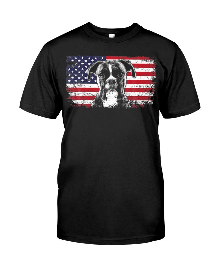 Boxer Dog Lover Vintage American Flag Premium Fit Mens Tee