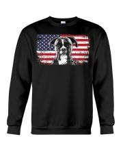 Boxer Dog Lover Vintage American Flag Crewneck Sweatshirt thumbnail