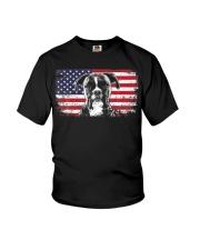 Boxer Dog Lover Vintage American Flag Youth T-Shirt thumbnail