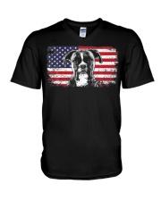 Boxer Dog Lover Vintage American Flag V-Neck T-Shirt thumbnail