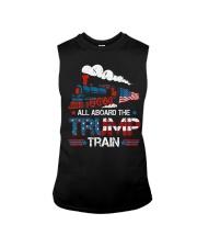 All Aboard The Trump Train 2020 American Flag Sleeveless Tee thumbnail