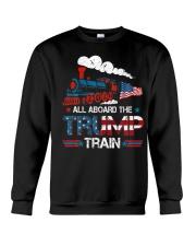 All Aboard The Trump Train 2020 American Flag Crewneck Sweatshirt thumbnail