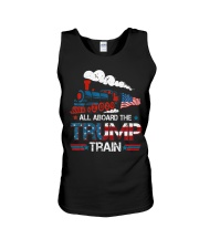 All Aboard The Trump Train 2020 American Flag Unisex Tank front