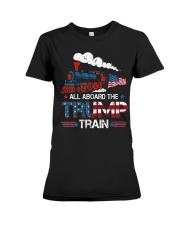 All Aboard The Trump Train 2020 American Flag Premium Fit Ladies Tee thumbnail