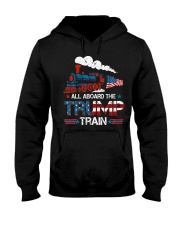 All Aboard The Trump Train 2020 American Flag Hooded Sweatshirt thumbnail
