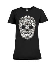 Pug Sugar Skull Funny Halloween Dog Lover Premium Fit Ladies Tee thumbnail