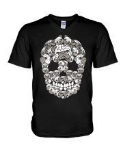 Pug Sugar Skull Funny Halloween Dog Lover V-Neck T-Shirt thumbnail