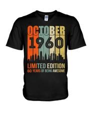 October 1960 60 Year Old 1960 Birthday V-Neck T-Shirt thumbnail