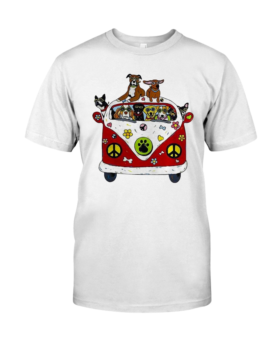 Cute Dogs in Red Car Funny Classic T-Shirt