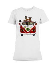 Cute Dogs in Red Car Funny Premium Fit Ladies Tee thumbnail
