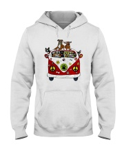 Cute Dogs in Red Car Funny Hooded Sweatshirt thumbnail