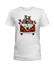 Cute Dogs in Red Car Funny Ladies T-Shirt thumbnail