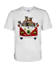 Cute Dogs in Red Car Funny V-Neck T-Shirt thumbnail