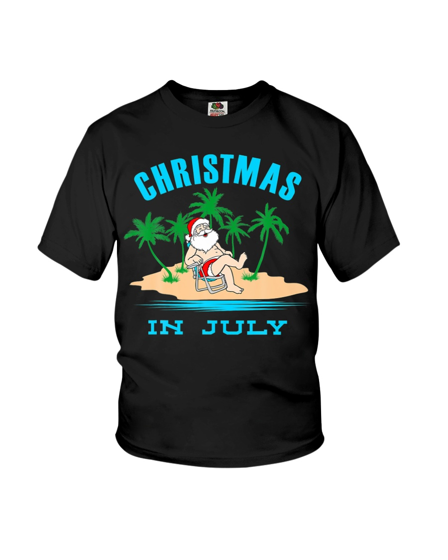 Merry Christmas In July Funny Santa Xmas Party Youth T-Shirt