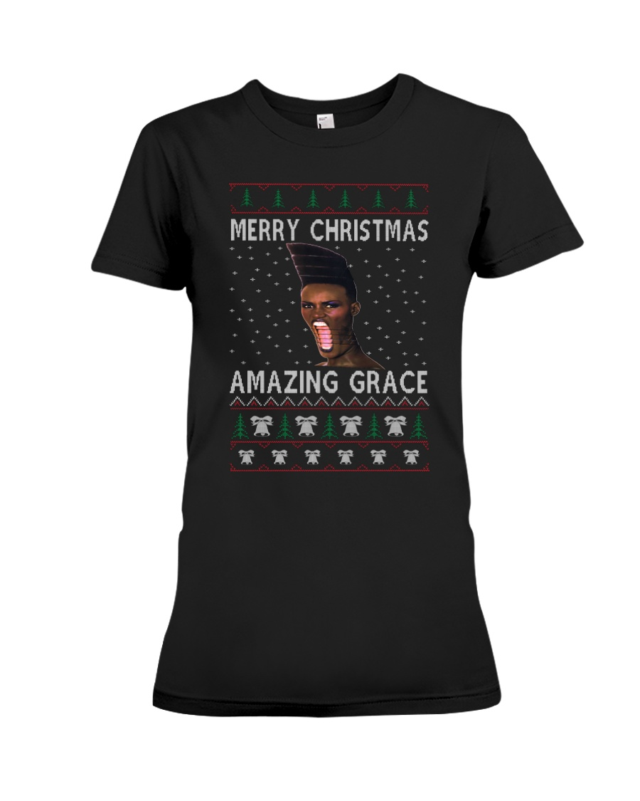 Amazing Grace Ugly Christmas Sweater Premium Fit Ladies Tee