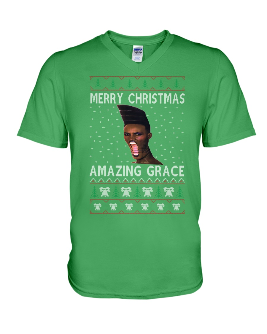 Amazing Grace Ugly Christmas Sweater V-Neck T-Shirt