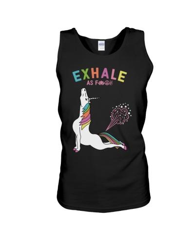 Exhale as fuck unicorn yoga shirt