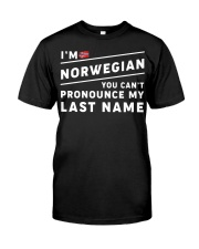 I'm norwegian you can't pronounce my last name Premium Fit Mens Tee front