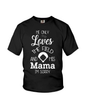 He only loves the field and his mama Youth T-Shirt thumbnail