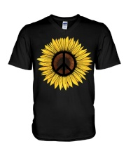 Hippie Sunflower Peace V-Neck T-Shirt thumbnail