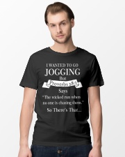 i wanted to go jogging but proverbs 28 1 Classic T-Shirt lifestyle-mens-crewneck-front-15