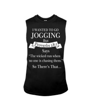 i wanted to go jogging but proverbs 28 1 Sleeveless Tee thumbnail