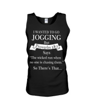 i wanted to go jogging but proverbs 28 1 Unisex Tank thumbnail