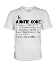 The auntie code V-Neck T-Shirt thumbnail