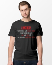 Warning this person has a dirty mind everything  Classic T-Shirt lifestyle-mens-crewneck-front-15