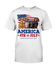 Dachshund america 4th of july independence day Premium Fit Mens Tee tile