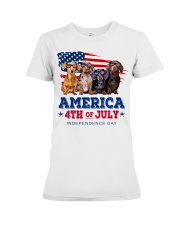 Dachshund america 4th of july independence day Premium Fit Ladies Tee tile