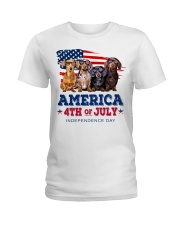 Dachshund america 4th of july independence day Ladies T-Shirt thumbnail
