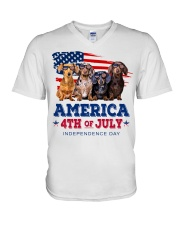 Dachshund america 4th of july independence day V-Neck T-Shirt tile
